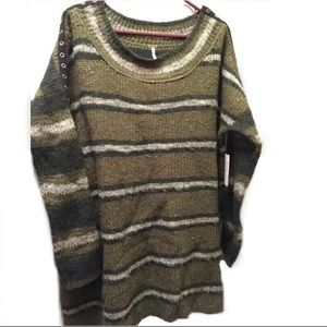Free People Tunic Sweater Metal Grommets Striped S